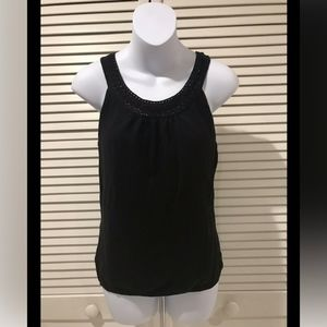 Ann Taylor Loft Black Sleeveless Knit Croquet Top